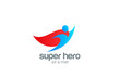 Super Hero abstract Flying Character vector logo design
