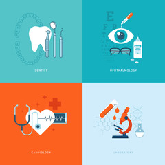 Flat design concept icons for medicine