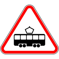 Road sign intersection with the tram line
