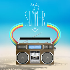 Vector summer illustration with vintage boom box
