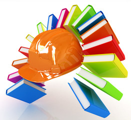 Colorful books like the rainbow and hard hat