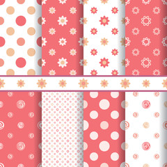 Cute baby vector patterns set - seamless girl pink texture
