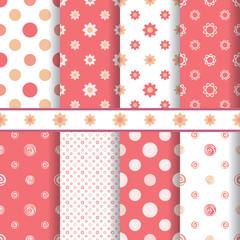 Cute baby vector patterns set - seamless girl pink texture