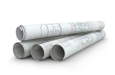 Scrolls of engineering drawings.