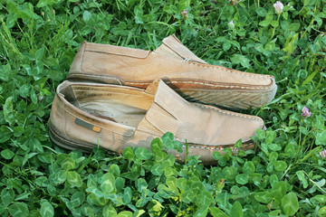Old men's suede moccasins on the green grass