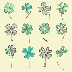 set of 12 decorative clovers