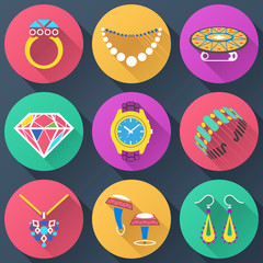 Set of jewelry flat icons for luxury industry