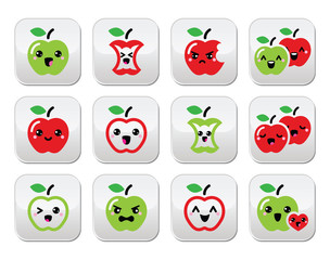 Cute red apple and green apple kawaii buttons set