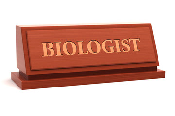 Biologist job title on nameplate