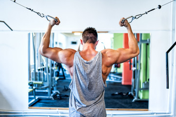 Bodybuilder working out the biceps in the gym. Sports concept