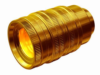 golden Camera lens, objcetive in gold, award for photographers