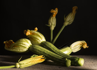 zucchini on the wooden table