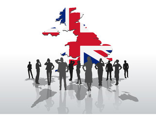 Business people standing under great britain graphic