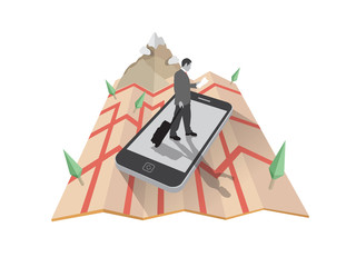 Businessman walking on smartphone on map