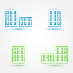 Vector minimal buildings icons - simple house symbol in blue and
