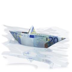 Papierschiffchen mit 20 Euro