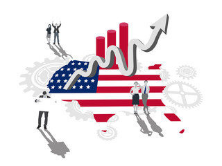Business people on america outline with flag colours and up arro