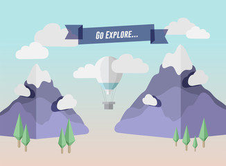 Go explore banner in mountain setting with hot air balloon