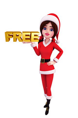 Santa Girl Character with free sign