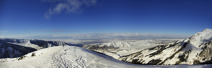 view from the mountain to Issyk-Kul