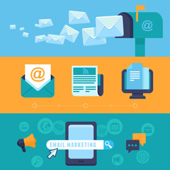 Vector email marketing concepts - flat icons