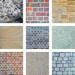 Neun Bilder von Steinen und Hauswänden