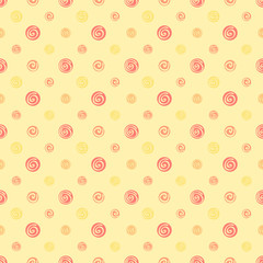 Yellow warm abstract polka dot fabric seamless pattern - backgro
