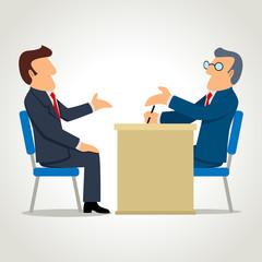 Simple cartoon of a man being interviewed