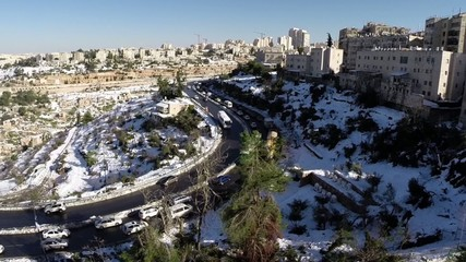 Jerusalem roads in the snow flight view