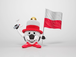 Soccer character fan supporting Poland