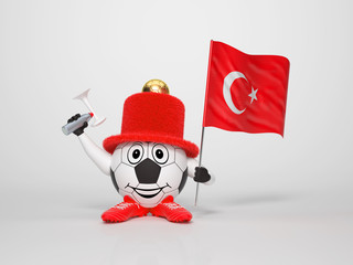 Soccer character fan supporting Turkey