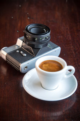 coffee and old retro camera