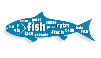 fish icon filled text fish on various languages