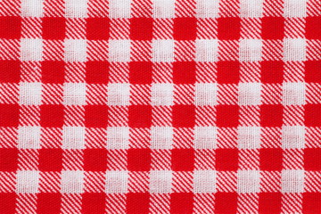Red and white picnic tablecloth checkered pattern