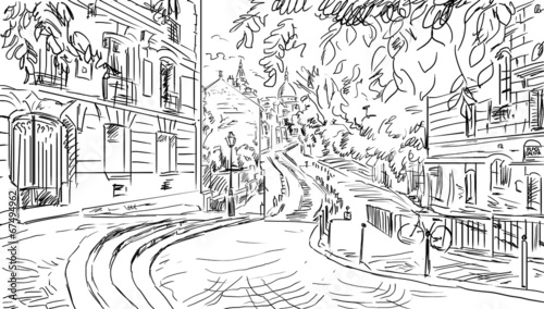 Fototapeta Street in paris. Eiffel tower -sketch illustration