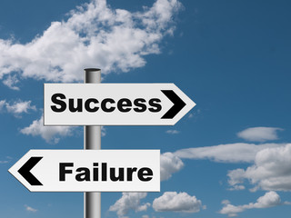 Success and failure road sign - choice.  Direction metaphor.