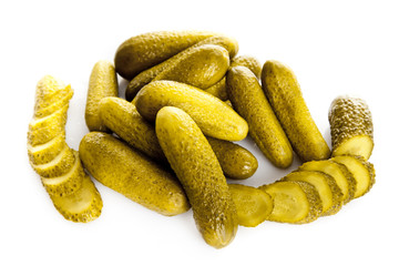 marinated pickled cucumbers isolated on white.