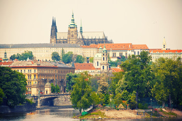 View to Prague castle and Vltava river