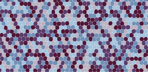 Purple and blue tones hexagonal abstract background