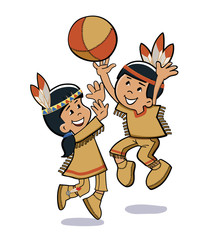 Indian kids play. Vector illustration
