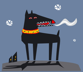 Black dog in winter