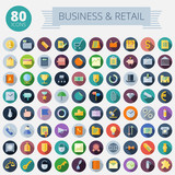 Flat Design Icons For Business and Retail poster