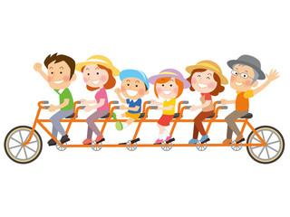 家族で自転車_イラスト_01