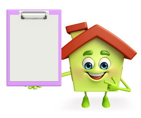 House character with notepad