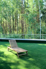 Wooden lounge chair on grass near  birchwood