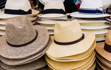 Handmade Panama Hats for sale.  Panama hats for sale in a market