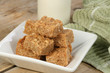 oat flapjack pieces with milk