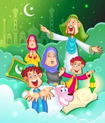 Muslim family wishing Eid Mubarak