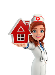 Nurse Character with home