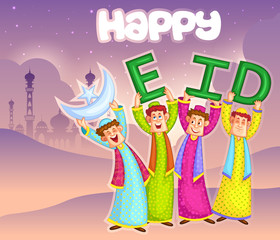 Muslim kids wishing Happy Eid